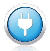 Socket design silver blue button — Stock Vector