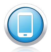 Cellphone silver blue button design — Stock Vector