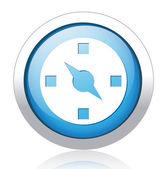 Speedometer silver blue button design — Stock Vector