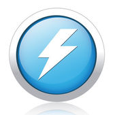 Lightning bolt blue button design — Stock Vector