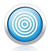 Waves design silver blue button — Cтоковый вектор