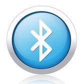 Bluetooth silver blue button design — Stock Vector