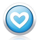 Heart design silver blue button — Stock Vector