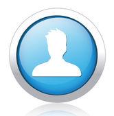 Male profile blue button design — Stock Vector