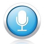 Microphone silver blue button design — Stock Vector #41579351