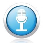 Microphone silver blue button design — Stock Vector #41579549