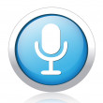 Microphone silver blue button design — Stock Vector #41579925