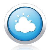 Sun behind cloud design button — Stock Vector
