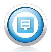 Floppy disk blue button design — Stock Vector