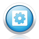 Settings silver blue button design — Stock Vector