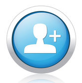 Profile manipulation blue button design — Stock Vector