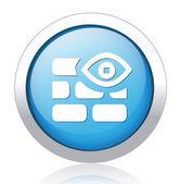 Wall and eye design button — Stock Vector