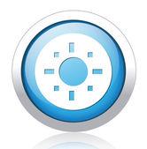 Sun design silver blue button — Stock Vector