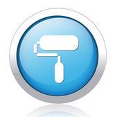 Paint roller blue button design — Stock Vector