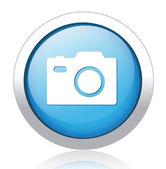 Camera design silver blue button — Stock Vector