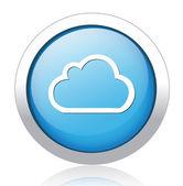 Cloud design silver blue button — Stock Vector
