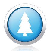 Pine tree blue button design — Stock Vector