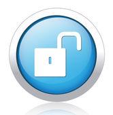Unlocked silver blue button design — Stock Vector