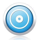 Target silver blue button design — Stock Vector