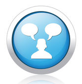 Person speaking blue button design — Stock Vector