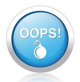 OOPS silver blue button design — Stock Vector