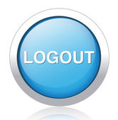 LOGOUT silver blue button design — ストックベクタ