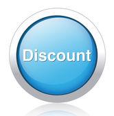 Discount silver blue button design — Stock Vector