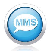 MMS silver blue button design — Stockvector