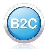 B2C silver blue button design — ストックベクタ
