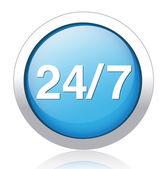 24-7 silver blue button design — Stock Vector