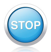 STOP silver blue button design — ストックベクタ