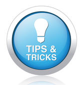 TIPS AND TRICKS blue button design — Vettoriale Stock