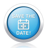 Save the date glossy blue reflected button — Stok Vektör