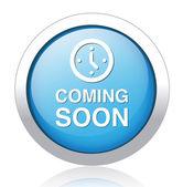 Botão azul em breve — Vetor de Stock