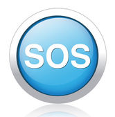 Sos button. round sticker — Stock Vector