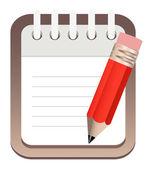 Icono de lápiz de bloc de notas — Vector de stock
