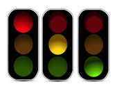 Red orange green traffic lights — Stock Vector