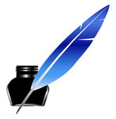 Quill Pen Inkwell — Stock Vector