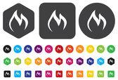 Flames fire button — Stock Vector