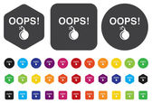 Button with the word Oops — Stock Vector