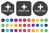 First aid medical button sign isolated on white.  — Stock Vector