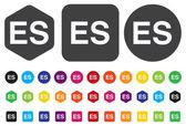 Icona del segno di lingua spagnola. simbolo di traduzione es — Vettoriale Stock