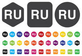 Russian language sign icon. RU Russia Portugal translation symbo — Stock Vector