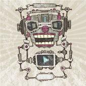 オーディオ ロボットの頭 — ストックベクタ