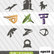 Set of icons. 10 signs — Stock Vector