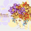 Girl with flowers. Vector Illustration - Stock Vector