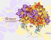 Girl with flowers. Vector Illustration — Stock Vector