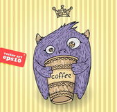 Coffee monster — Stock Vector