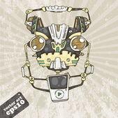 Fun robot head — Stock Vector