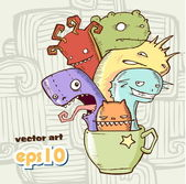 Coffee monster. Vector Illustration — Stock Vector